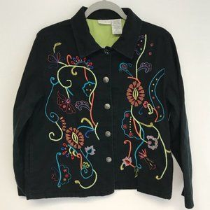 White Stag | floral embroidered black jacket